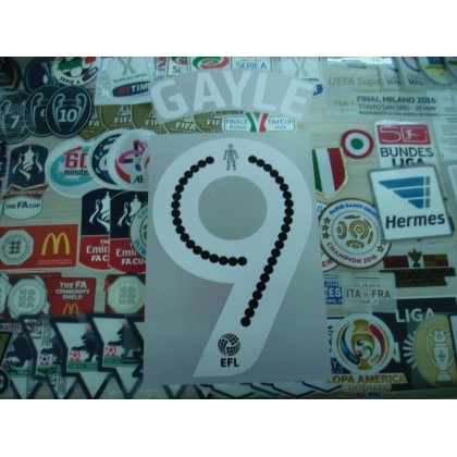 Official GAYLE #9 Newcastle Away EFL 2016-17 PRINT