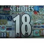 Official SCHOLES #18 Manchester United Home WHITE FAPL 1997-2007 PLAYER SIZE SENSCILIA PRINT