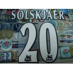 Official SOLSKAJAER #20 Manchester United Home WHITE FAPL 1997-2007 PLAYER SIZE SENSCILIA PRINT