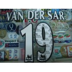 Official VAN DER SAR #19 Manchester United Home WHITE FAPL 1997-2007 PLAYER SIZE SENSCILIA PRINT