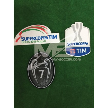 Official Italian SUPERCOPPA TIM + DOHA 2016 + BOH 7 Patches