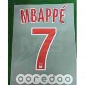 Official MBAPPE #7 PSG Home Ligue 1 2018-19 PRINT + OOREDOO Sponsor