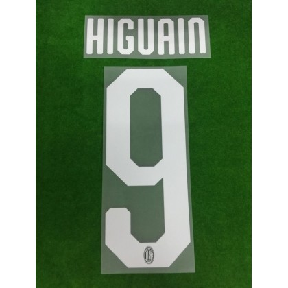 Official HIGUAIN #9 AC Milan Home 2018-19 Name Number