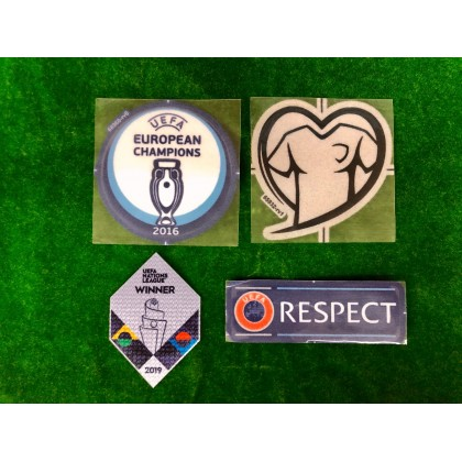 Official PLAYER ISSUE EURO 2016 CHAMPIONS + UNL WINNER 2019 + LOVE + RESPECT Patches