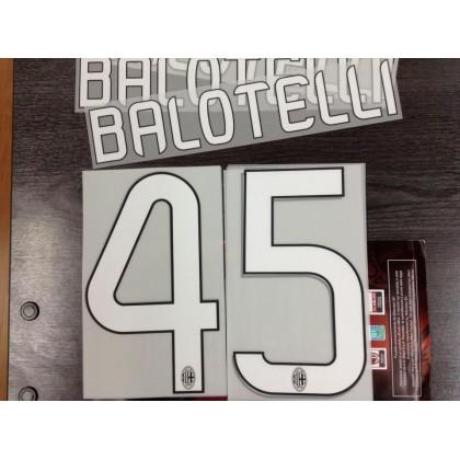 Official BALOTELLI #45 AC Milan Away 2012-14 Name Number